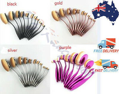 10pc Professional Quality Oval Toothbrush Makeup Brushes Applicator Foundation