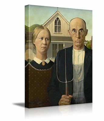 "American Gothic by Grant Wood Giclee Canvas Prints Wrapped Wall Art - 32"" x 48"""
