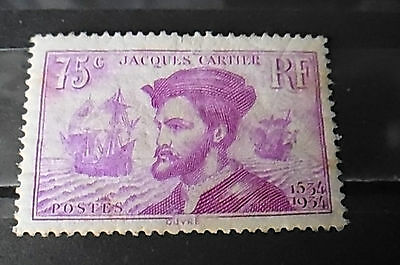 Timbre neuf FRANCE 1934 : 75c lilas Jacques Cartier