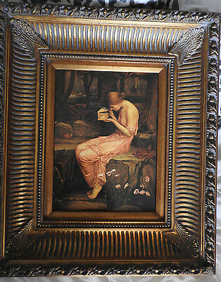 antique large decorative picture with lady , antique gilt ornate heavy framed