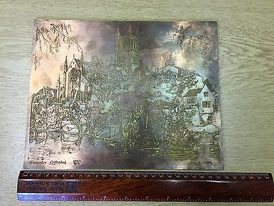Vintage Copper on Lead Printing Plate by Mary C Soulsby of Worcester Cathedral