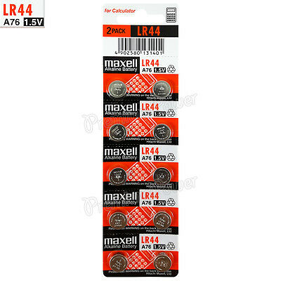 10 x Maxell Alkaline LR44 batteries 1.5V A76 AG13 303 357 L1154 SR44 Pack of 2