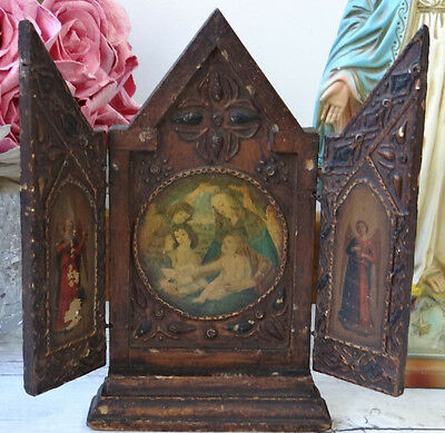 Beautiful Old Vintage Wood Florentine Triptych Angels Madonna Mary Baby Jesus