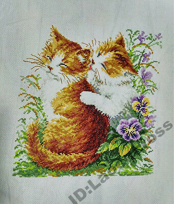 "New Finished completed Cross stitch""LOVELY CATS""home decor gifts"