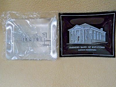 2 Vintage Farmers Bank of Kutztown Pa glass & aluminum trinket coin dishes