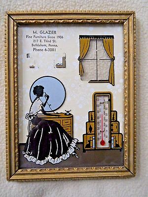 Vintage Reverse Silhouette Glazier Furniture Advertising/Thermom /Bethlehem PA