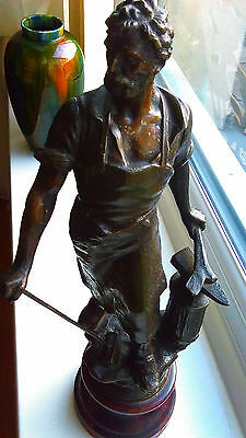 Spelter Figure of a Blacksmith French Early 1900's Bronze Patina Very Detailed