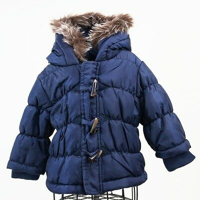 Babaluno Baby Boys Blue Faux Fur Hooded Winter Padded Jacket Zip Coat 6-9 mths