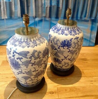 Beautiful Pair of Large Vintage Blue and white Porcelain Vase Lamps