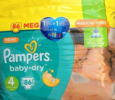 Mega Pack 2 x 86 Couches PAMPERS Baby Dry Taille 4