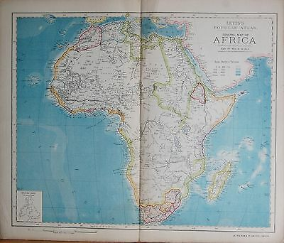 1883  Large Antique Map General Map Of Africa, Linen Backed
