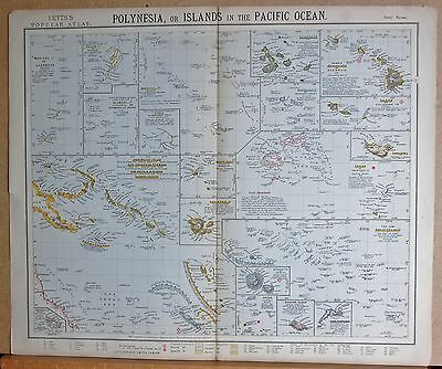 1883  Large Antique Polynesia Or Islands In The Pacific Ocean