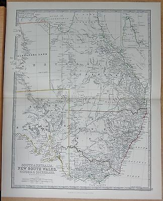 1874  Large Antique Map - Johnston- South Australia New South Wales Victoria And