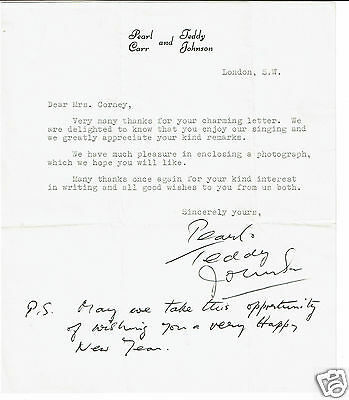 Pearl Carr and Teddy Johnson  Hand signed Headed Letter
