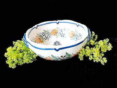 Quimper porringer bowl, 2 handle bowl, hand-painted,  French Pottery, kitchen