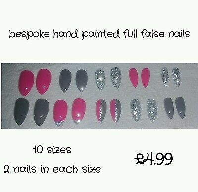Bespoke Hand Painted Stilletto Long Full False Nails Pink Grey Silver