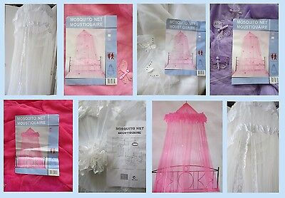 BED MOSQUITO NET��PRINCESS CANOPY PINK LILAC WHITE CREAM butterflies stars lace