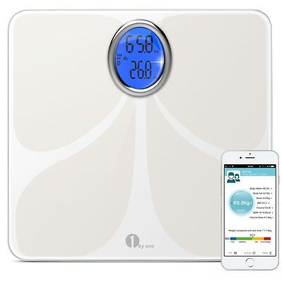 Bluetooth BMI Smart Scales Free iOS / Android App Weight LCD Backlit Screen