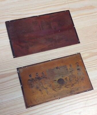 Antique Copper Printing Plate Of Soliers And Another Of A Classroom