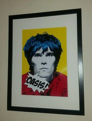 "Ian Brown Framed Pop Art "" Oasis ""print The Stone Roses Manchester"