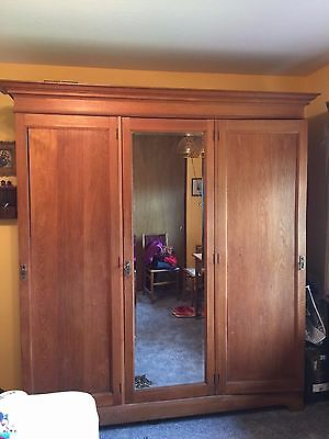 Italian Large Vintage Clothes Armoire with Mirror