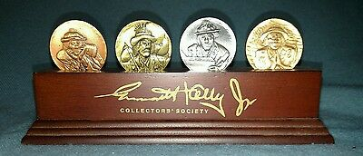 Emmett Kelly Jr Collectors Society set of 4 Coins with Wood Stand by Flambro