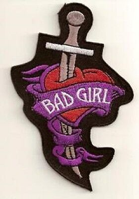 Bad Girl Knife Embroidered Biker Patch