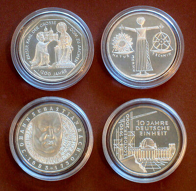 All 4 Silver Commemorative Coins 10 Dm Jahrgang 2000