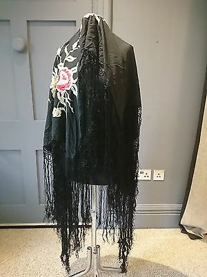 Antique / Vintage 1920s ? Black Canton Embroidered Floral Silk Piano Shawl