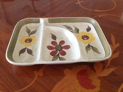 Radford Pottery England Hand Painted Sectioned tray dish - Handpainted - Green