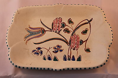 HONITON POTTERY BREAD & BUTTER PLATE HAND PAINTED ON CREAM NEWTON 1947c + RETRO