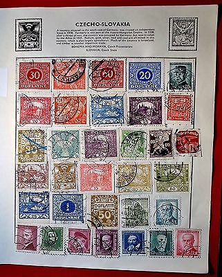 Czecho-Slovakia Thirty-Three  Earlier Issued Stamps On Album Page Used