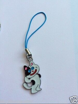 ENAMEL CAT CELL PHONE CHARM w STRAP FOR FERAL CATS TNR & KITTENS CHARITY RESCUE