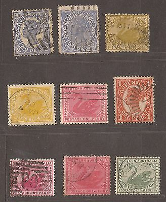 C1890 Western Australia / Queensland Stamps Used  See Scan For Back And Front