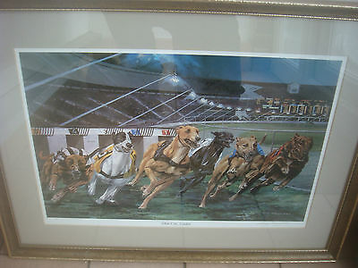 Signed Vic Granger Print White City Greyhound Racing