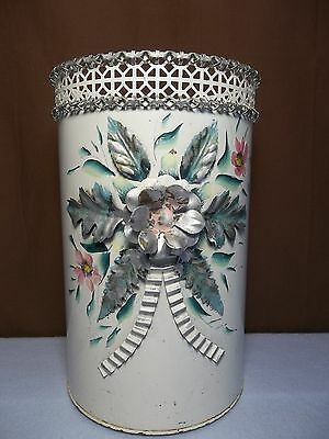 Vintage Tole Pierced Metal Trash Can Shabby Chic 3D Flowers