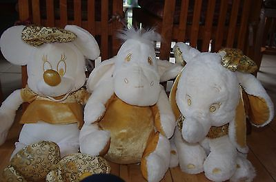 3 large Disney Store cream gold soft toys Eeyore , Minnie Mouse , Dumbo