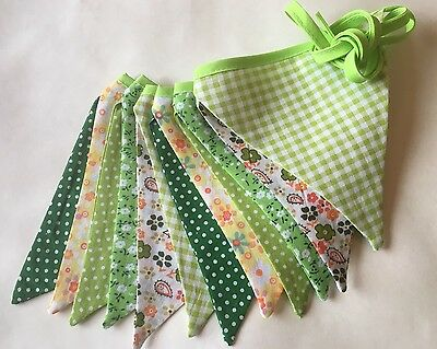 Bunting - Polka Floral Gingham Green & Yellow DBL Sided Beautifully Made 9ft