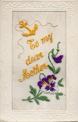 Dear Mother: Ww1 Embroidered Greetings Silk Postcard