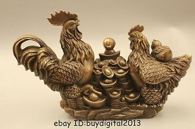 """10"""" Chinese Folk Brass Wealth Zodiac Year Two Rooster Cock Yuan Bao Money Statue"""