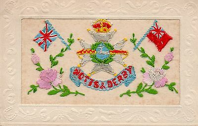 Notts & Derby Regiment: Ww1 Embroidered Military Silk Postcard