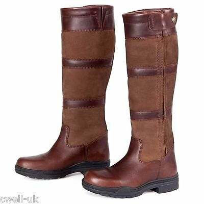 Shires Broadway Long Leather Waterproof Country Boot UK 4 EURO 37 BROWN X WIDE