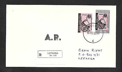 Cyprus Turkish Cover 1970 Aid Stamp and 1980 Anniversary Registration Rare Cover