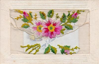 Pretty Roses: Ww1 Embroidered Greetings Silk Postcard