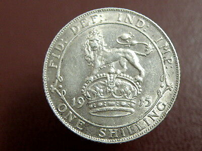1915 King George V - SILVER SHILLING COIN - Good Coin