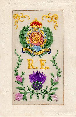 Royal Engineers: Ww1 Embroidered Military Silk Postcard
