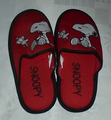 SLIPPERS - Chaussons SNOOPY rouge et noir FEMME ou HOMME P37-38-39-40-41 NEUF