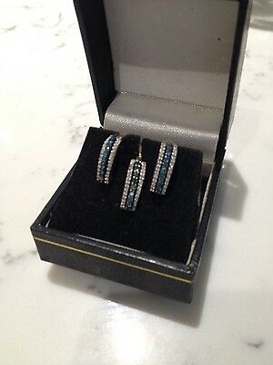 Vintage Topaz and Diamond  earring and pendant set 9ct gold reduced from £165