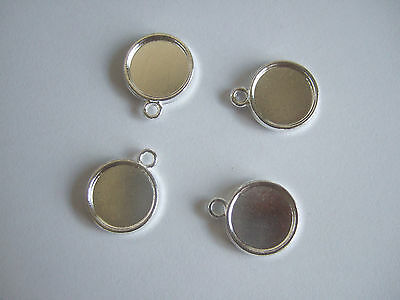 50 x Silver Plated 12mm Round Cameo Cabochon Settings Pendants Tray Double-Sided