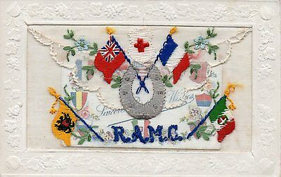 Royal Army Medical Corps: Ww1 Embroidered Military Silk Postcard